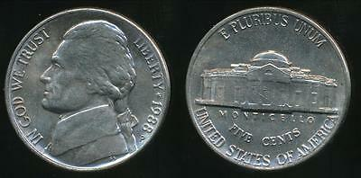 United States, 1988-P 5 Cents, Jefferson Nickel - Uncirculated