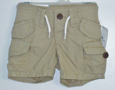 New BABY GAP Size 0-3 Months Boys Brown Beach Comber Pull-On Cargo Khaki Shorts