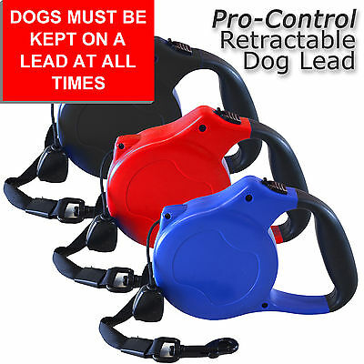 Pro-Control 8m Retractable Lockable Dog Lead Leash Extendable Pet 50kg