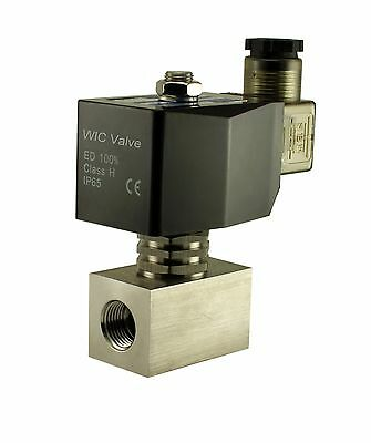 """3/8"""" Inch Stainless Zero Differential Electric Steam Solenoid Valve 12V DC PTFE"""