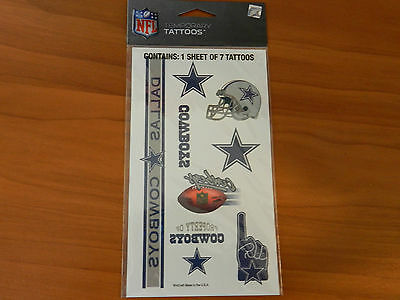 Dallas Cowboys Temporary Tattoos NFL Sheet of 7 Made in USA in Lot of 5 Sheets