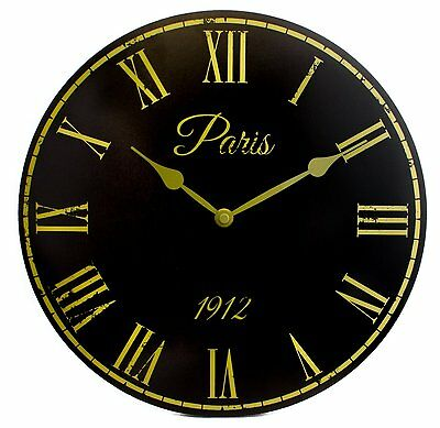 Shabby Chic Vintage French Style Paris 1912 Wall Clock in Black 30cm New & Boxed