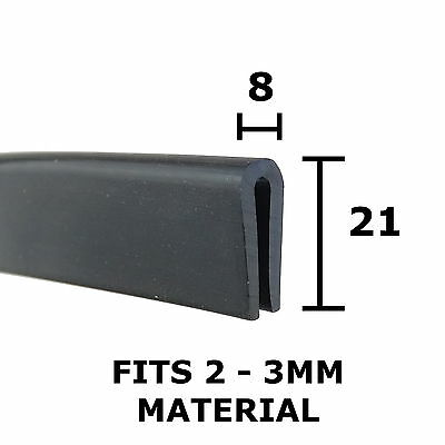 Large Rubber U Channel Edging Trim Seal 21mm x 8mm Fits 2mm-3mm The Metal House