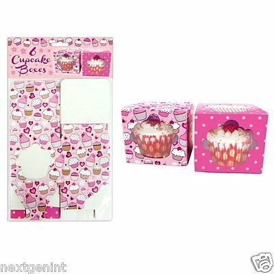 Cupcake Boxes With Windows  For Girls - Parties, Birthday,baby Shower  Pack Of 6