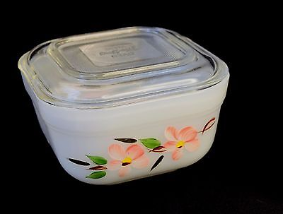 VINTAGE 1950s Fire King Gay Fad Glass Refrigerator Container/ w Blossoms Flowers