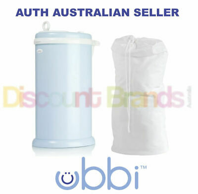 New Ubbi Nappy Diaper Pail Bin Eco Friendly Light Blue Colour + Cloth Liner Bag