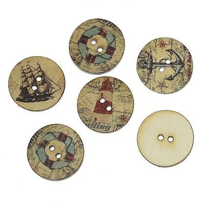 """Pack of 20 NAUTICAL 2-hole Wooden Buttons 3/4"""" (20mm) Scrapbook Craft (4890)"""