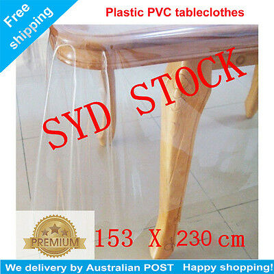 Premium Clear Plastic PVC Table Protector Dining Picnic Camping 153 X 230CM AU