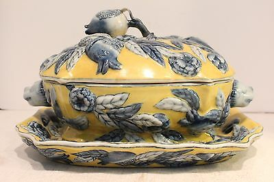 Beautiful Yellow and Blue Porcelain Tureen 3D Floral Design with Tray