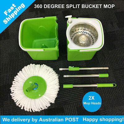 New Magic Split Bucket Mop 360°Spinning Stainless Steel Spin Bucket 2 Mop Heads