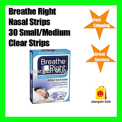Breathe Right Nasal Strip Clear 30 Small/medium Strips Pack Nose ebargainClub
