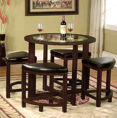Dining Table Set and Chairs Round Solid Wood Glass Top Kitchen Stools Dinette