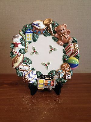 2001 FITZ & FLOYD Toyland Christmas Holiday Canape Decorative or Serving Plate