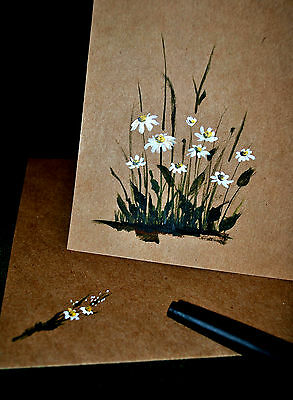 Set of 3 -Original Hand painted Blank greeting/Invitaion cards- Daisies - Rustic