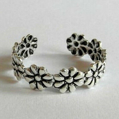 Flowers Toe/thumb/finger Ring/Size D and up.Womens Ancient Silver Look