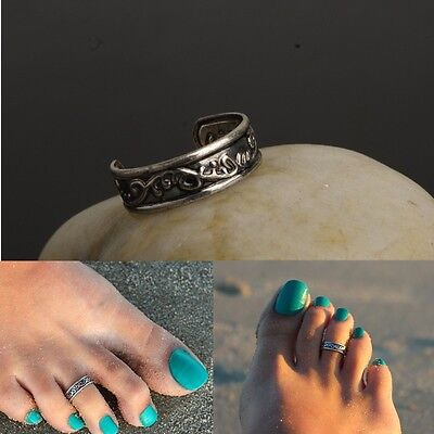 Ancient Silver Toe Thumb Finger Ring Celtic Style Pattern Womens Size D and up