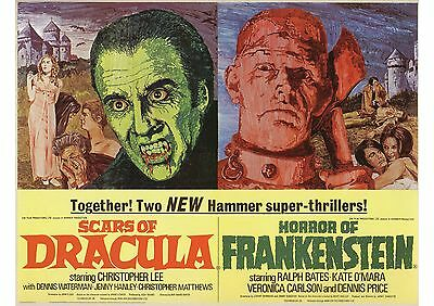 Scars of Dracula/Horror of Frankenstein - Christopher Lee - A4 Laminated Poster