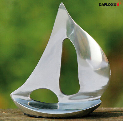 SAILING BOAT MODEL ALUMINIUM 12cm HEIGHT boat SILVER SHIP METAL CHROME NEW