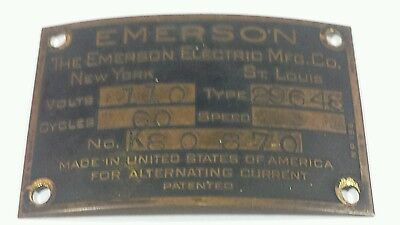 Vintage Antique Emerson Electric Fan ID Tag Plate type 29648 NICE CONDITION