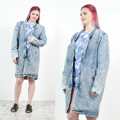 Womens Vintage 80's Acid Wash Mid Length Denim Blazer Jacket Button Fasten 16
