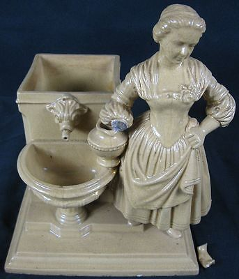 Large Antique 19th Century Yellow Ware Lady & Fountian Planter As Is