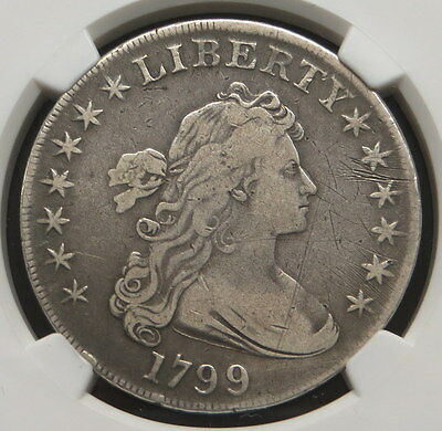 1799 Heraldic Eagle Reverse Draped Bust Silver Dollar, NGC Certified VF DETAILS