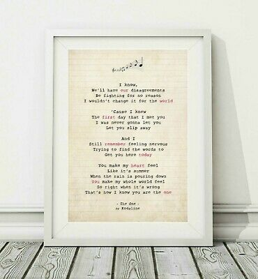 010 Kodaline - The One - Song Lyric Art Poster Print - Sizes A4 A3