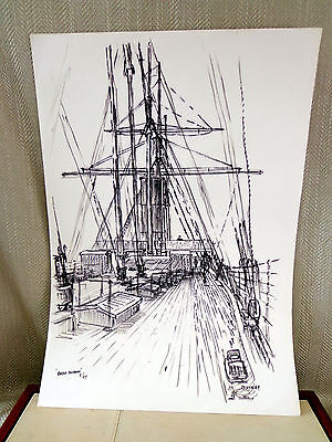 Original Signed Drawing Sketch SS Great Britain Steam Ship Picture Listed Artist