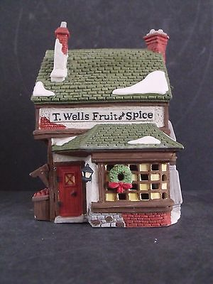 """Dept 56 Dicken's Village """"t. Wells Fruit And Spice Shop"""" - #59242 - New In Box"""