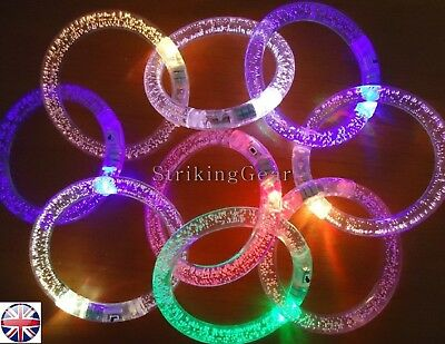 x1 x2 x4  LED Multicolour Light-Up Party Bangle Bracelet Clear Bubble - SG-UK