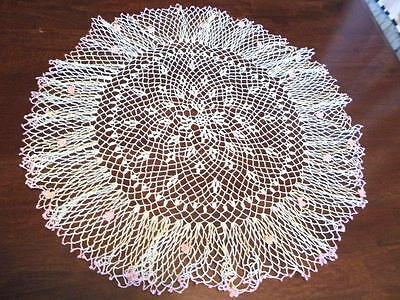 Vintage Table Center Doily Crocheted Lace 3 D Pink Floral Scalloped White 24""