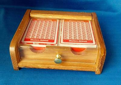 Set of 2 WESTERN AIRLINES PLAYING CARDS in wooded case