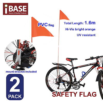 2x Safety Flag Bicycle Childs Kids Bike Mobility Scooter Fluro Orange 1.6m Free