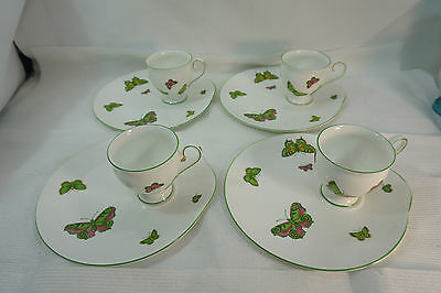 Crown Staffordshire China Butterfly Pattern Set 4 Snack Plates Cups Butterflies
