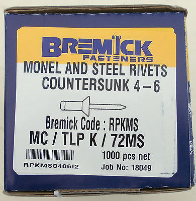 Monel Countersunk Rivets 4-6 In 10,25,50,100,500 & 1000 Pkts Free Post