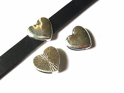 10 Antique Silver Heart Shaped Flat Slider Spacer Findings For 10mm Flat Leather
