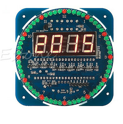 Assemble DS1302 Rotating LED Electronic Temperature Display Board Digital Clock