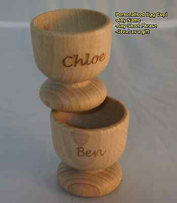Personalised Laser Engraved Wooden Egg Cups. Your message! 1 or 2 Great for Kids