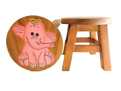Childs Childrens Wooden Stool - Pink Elephant Design Step Stool