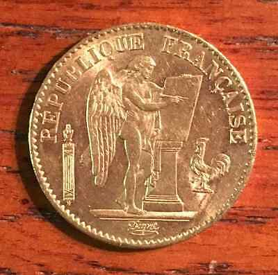 FRENCH LUCKY ANGEL GOLD COIN ~ France 20 Francs ~ AU ~ 1895