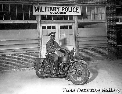 African American MP on Motorcycle / Segregation Sign -1942- Historic Photo Print