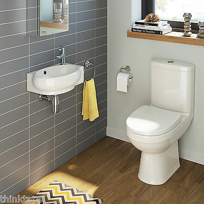 Complete Compact Bathroom Suite With Cloakroom Basin And Close Coupled Toilet WC