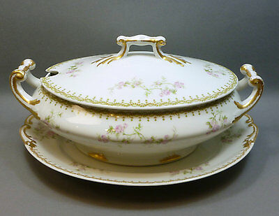 Antique Porcelaine Limousine PL / M. Redon Limoges Soup Tureen Lid & Underplate