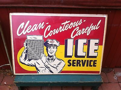 Vintage 1940s ICE DELIVORY Advertisement paper rare sign