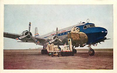 Mail being loaded ~UNITED AIRLINES~ Great Old Airline Issued Postcard, c. 1950