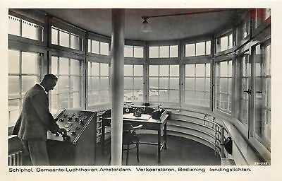 Interior of the Control Tower at Schiphol Airport ~AMSTERDAM~ Amazing RPPC, 1940