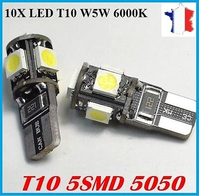 10 Ampoules Veilleuses LED W5W T10 Canbus ANTI ERREUR 6000k Blanc Xenon Tuning