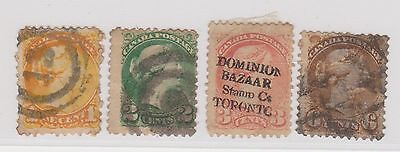 (JN-72) 1870 Canada mix of 4 1c to 6c QVIC