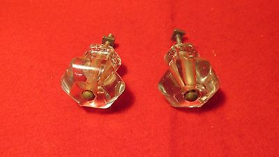 2 Antique Glass Cupboard Drawer Knobs  No. 2