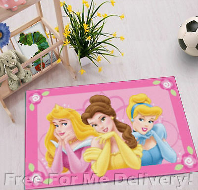 KIDS EXPRESS DISNEY PRINCESS PINK FLOOR RUG (XS) 50x75cm **FREE DELIVERY**